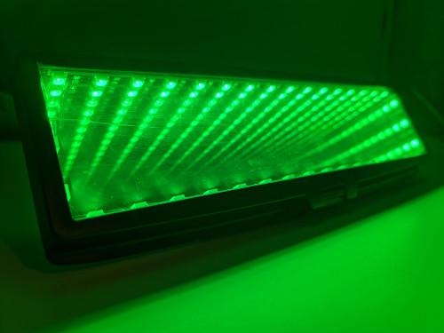 LED Infinity Galaxy Rear View Mirror Clip On Flat Broadway 280mm - GREEN