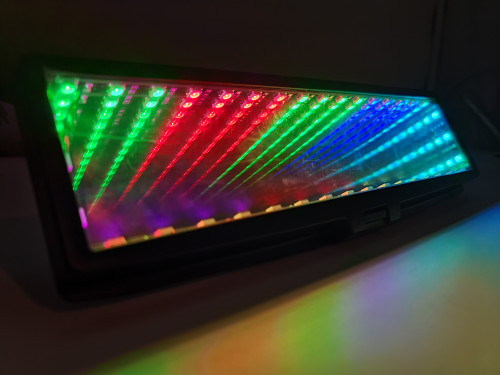 LED RGB Infinity Galaxy Rear View Mirror Clip On Flat Broadway 280mm - Multicolor Rainbow