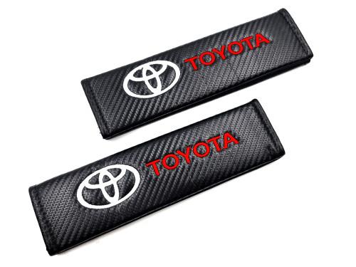 Carbon Fiber Seat Belt Shoulder Pads Cover  - Toyota White/Red