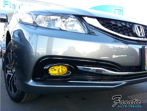 13-15 Honda Civic Sedan Precut Yellow Fog Light Overlays Tint