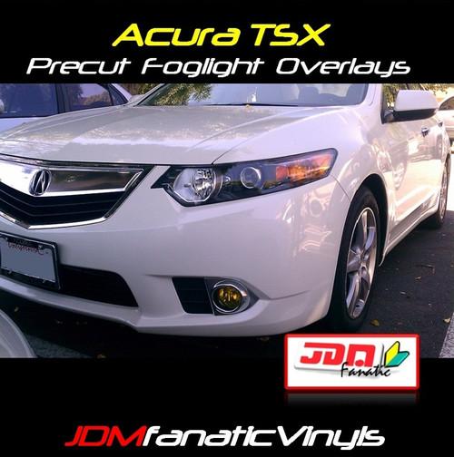 09-12 Acura TSX Precut Yellow Fog Light Overlays Tint