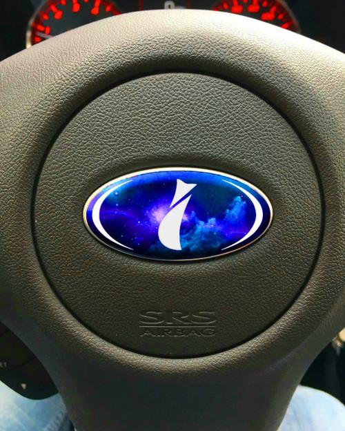BLUE GALAXY - DOMED Steering Wheel Badges