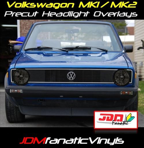 VW Jetta/Golf MK1/MK2 Precut SMOKED Head Light Overlays Tint