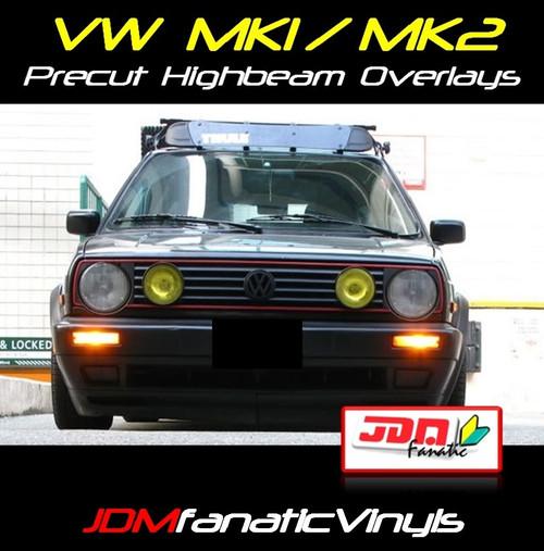 VW Jetta/Golf MK1/MK2 Precut Yellow High Beam Overlays Tint