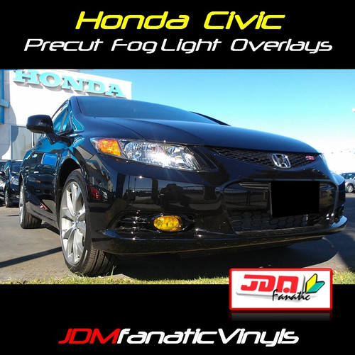 2012 Honda Civic Precut Yellow Fog Light Overlays Tint