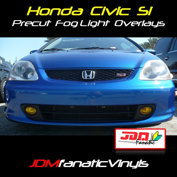 02-05 Honda Civic Si Precut Yellow Fog Light Overlays Tint Kit