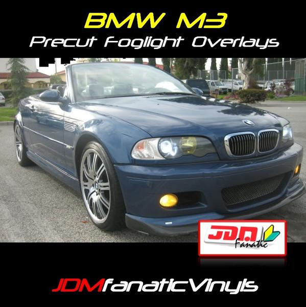 01-06 BMW M3 Precut Yellow Fog Light Overlays Tint