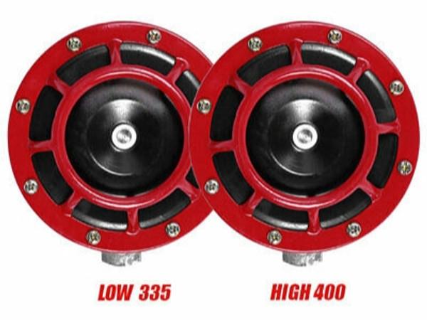 Super Tone Loud Blast Grille Mount Horns 12V 335-400 - Red