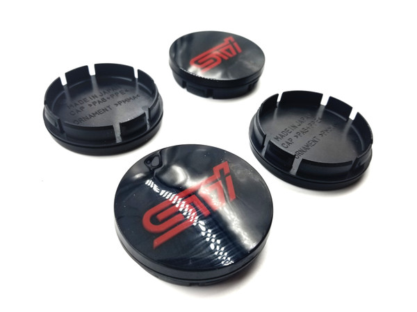 Replacement Gloss Black Center Caps with 3d Logo - RED LOGO