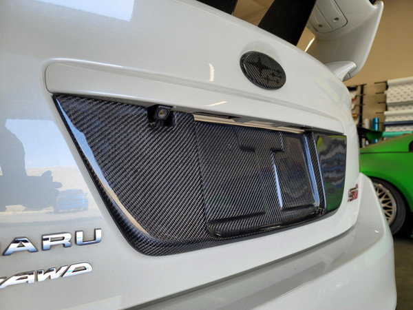 100% Real Carbon Fiber Trunk license Plate Backing (2015-2020 WRX/STI)