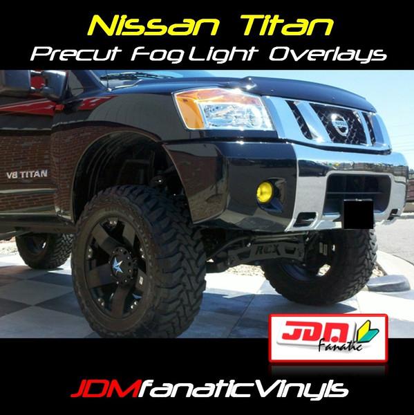 04-12 Nissan Titan Precut Yellow Fog Light Overlays Tint