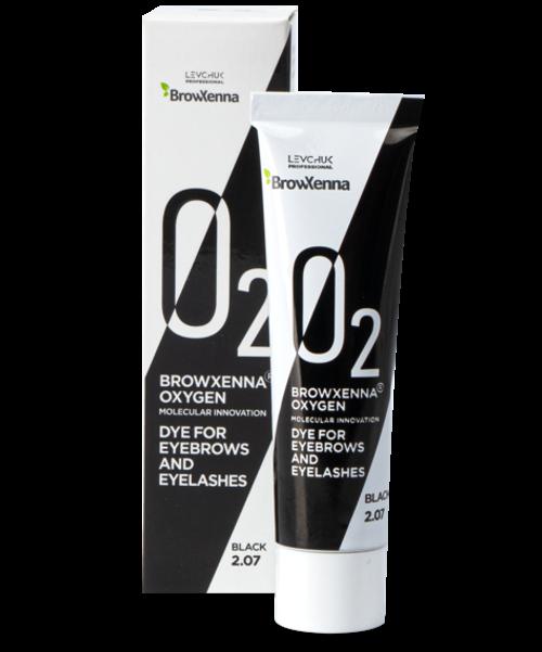 BrowXenna® OXYGEN O₂ Dye for eyebrows and eyelashes Black #2.07