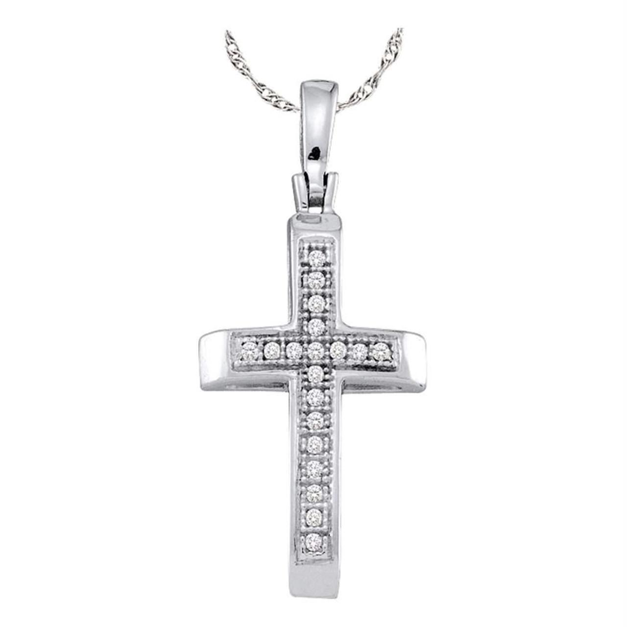 The Diamond Deal Sterling Silver Womens Round Diamond Roman Cross Religious Pendant 1//12 Cttw