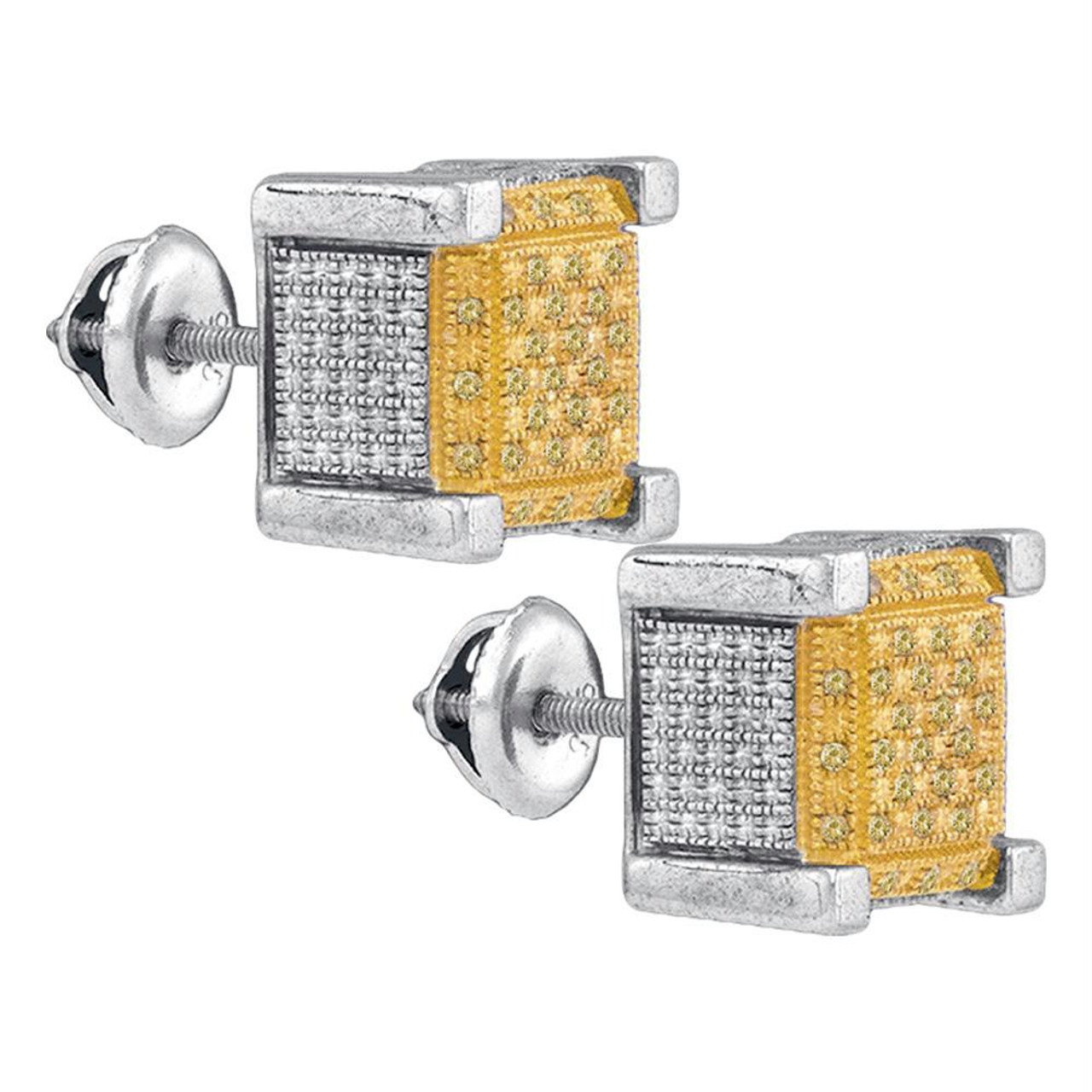 Sterling Silver Womens Yellow Blue Colored Diamond Square Cluster Earrings 1//6