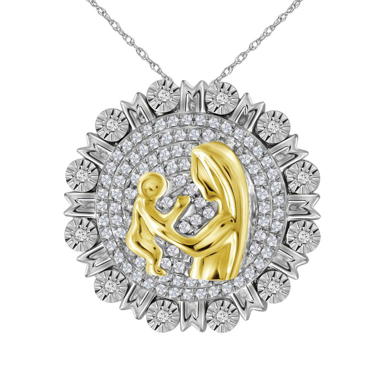 Yellow-tone Sterling Silver Womens Round Diamond Mom Heart Pendant 1//20 Cttw