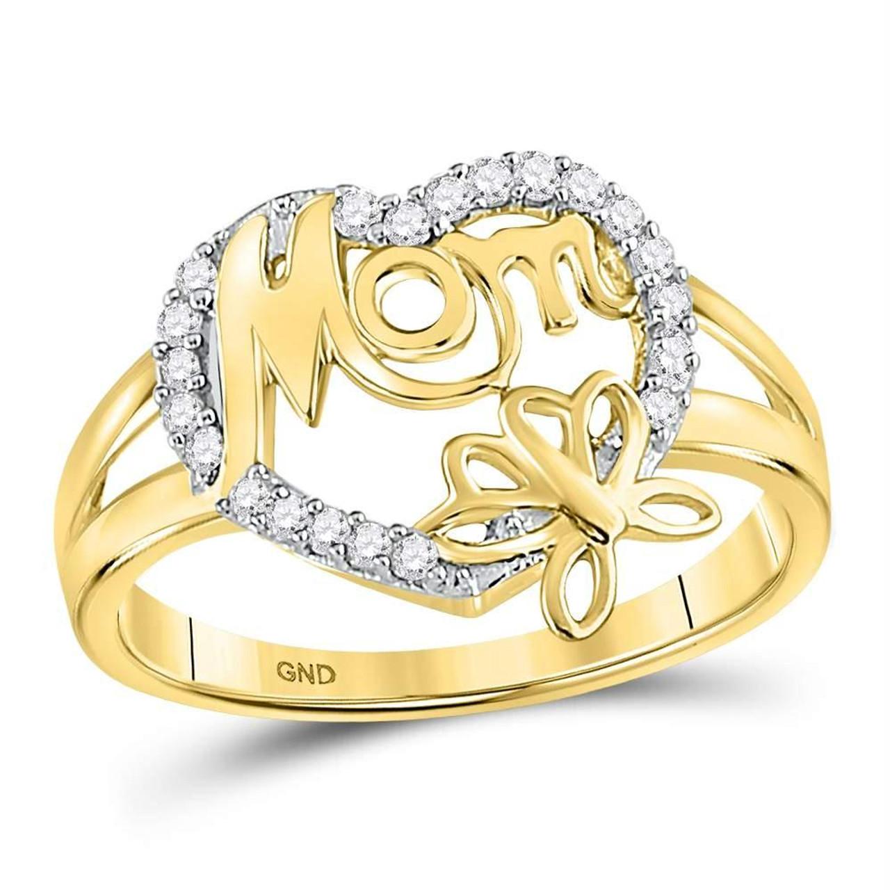 10k Yellow Gold Diamond Heart Love Mom Mother Pendant 1//12 ct