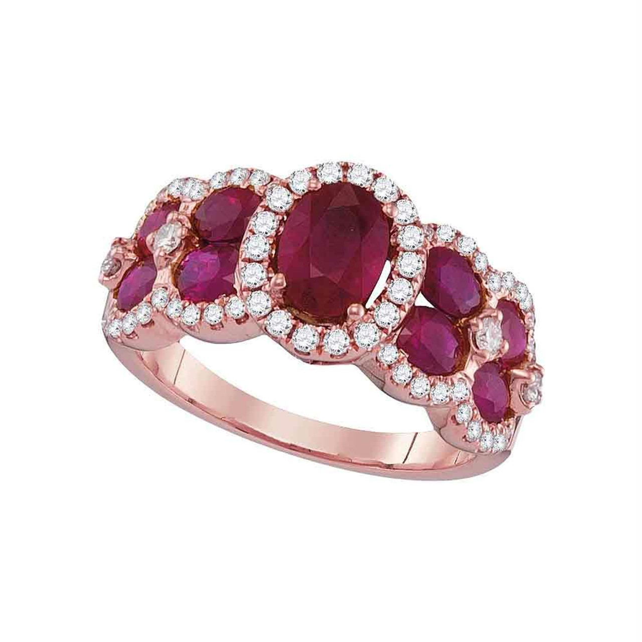 18kt Rose Gold Womens Oval Ruby Diamond Luxury Fashion Ring 3 1 2 Cttw