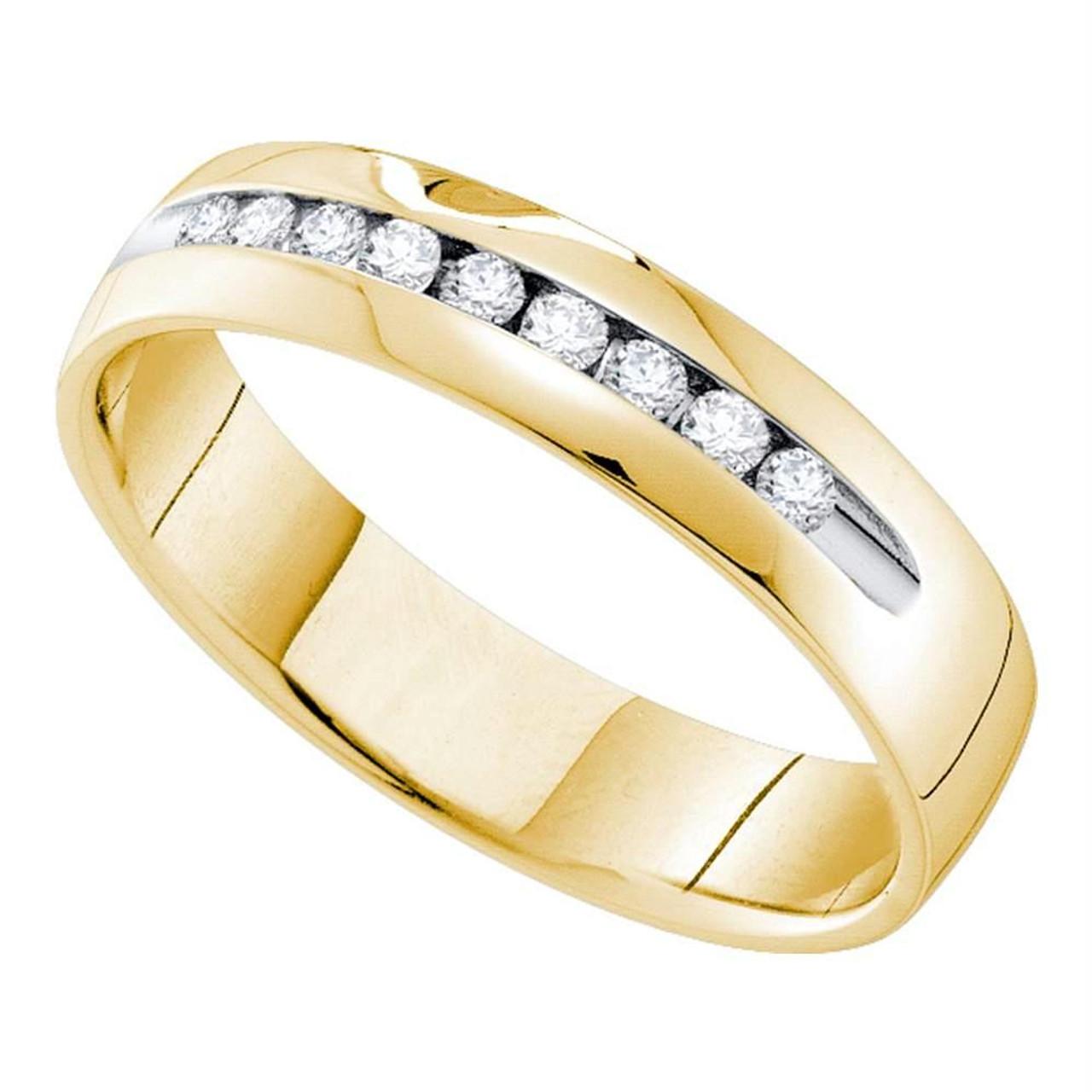 14k Yellow Gold 5 mm Round Diamond Mens Wedding Band Ring Channel Set