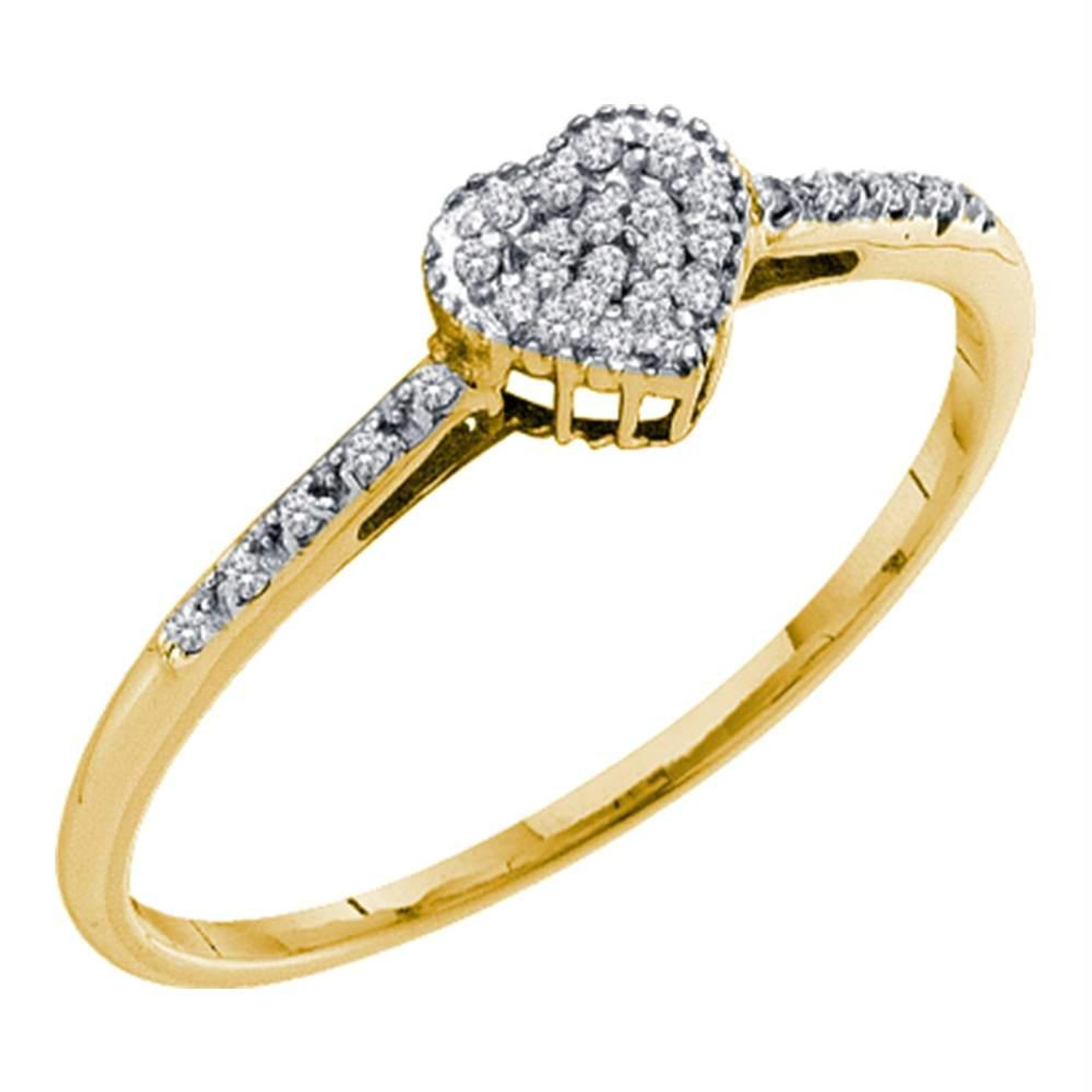 10k Yellow Gold Womens Round Diamond Slender Heart Cluster Ring 1//12 Cttw