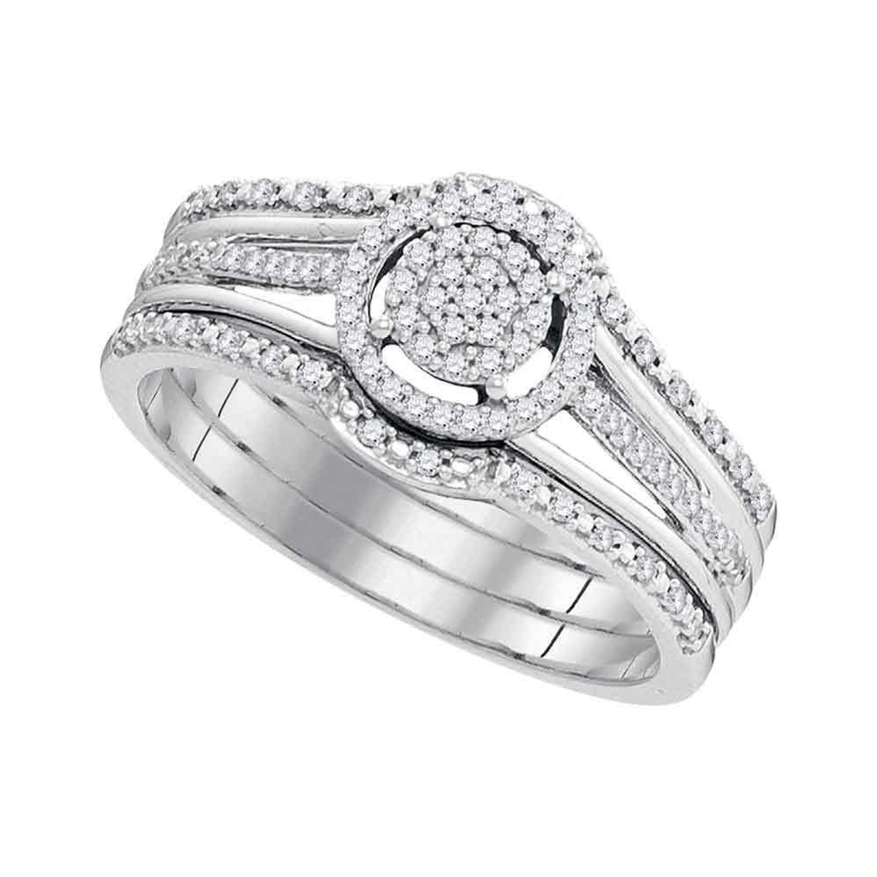 10kt White Gold Womens Round Diamond Cluster 3 Piece Bridal Wedding Engagement Ring Band Set 1 4 Cttw