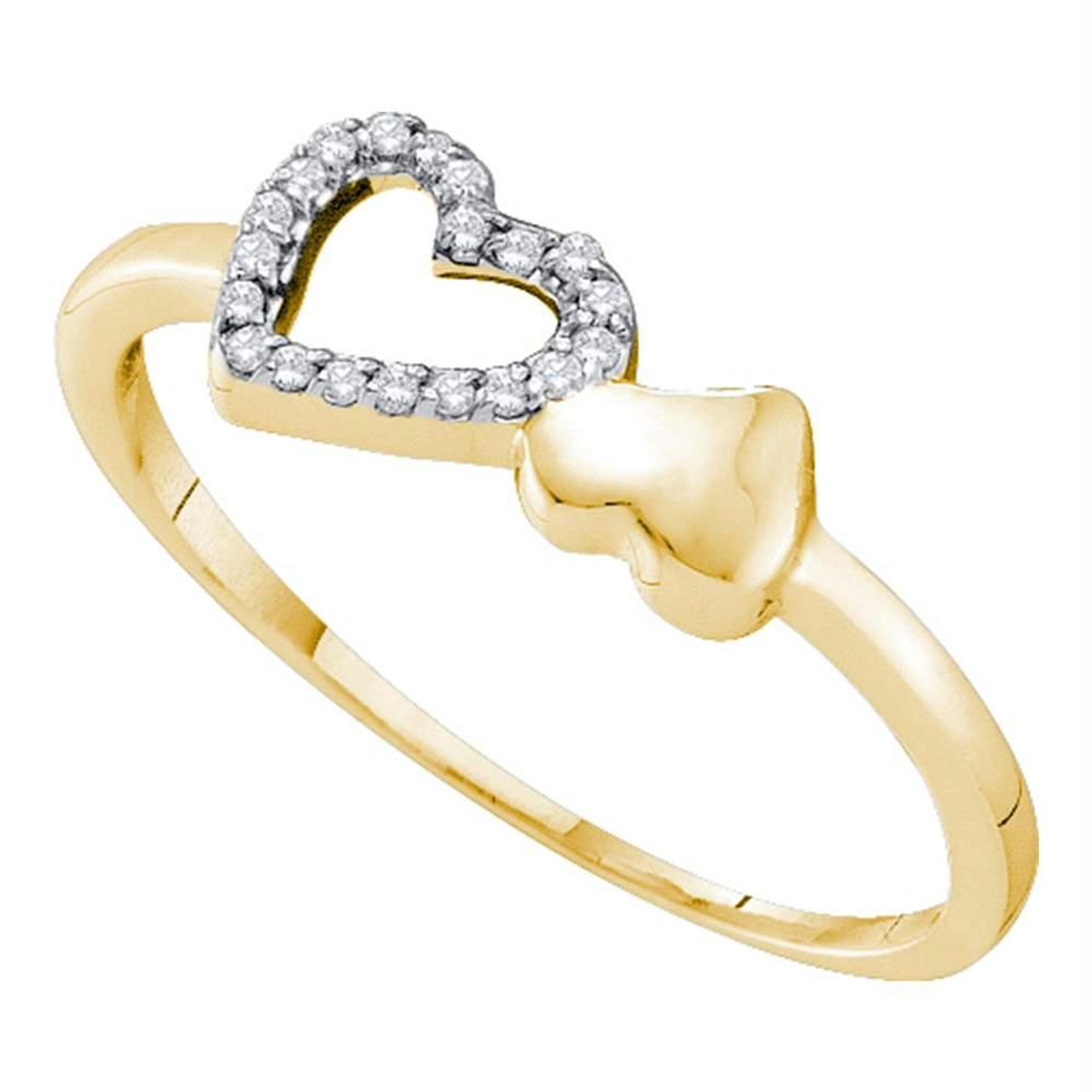 10k White Gold Womens Round Diamond Double Heart Bypass Ring 1//20 Cttw