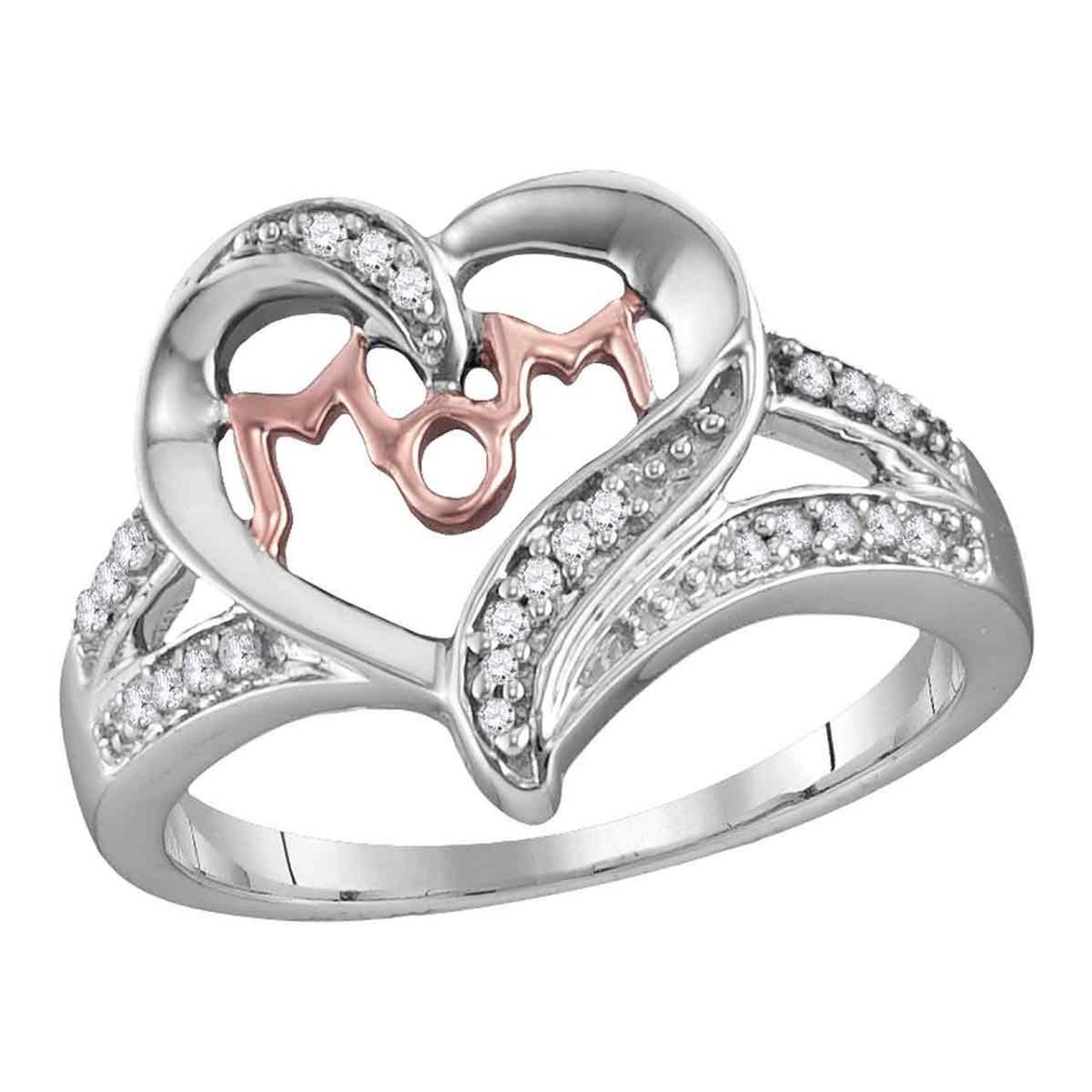 Sterling Silver Womens Round Diamond Rose-tone Mom Mother Heart Pendant 1//8 Cttw