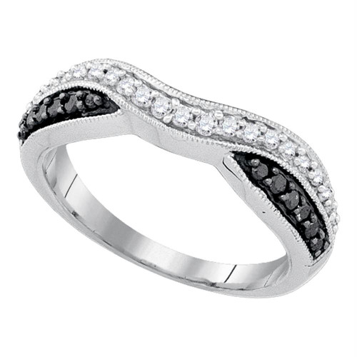 10k White Gold Black Color Enhanced Round Pave-set Diamond Womens Band Ring 1/3 Cttw