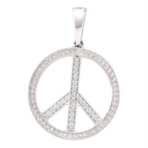 10kt White Gold Womens Round Diamond Peace Sign Circle Pendant 1/10 Cttw