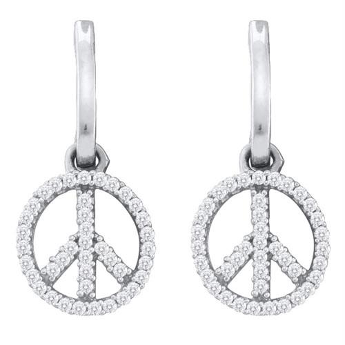 10k White Gold Womens Diamond Peace-sign Dangle Earrings 1/4 Cttw
