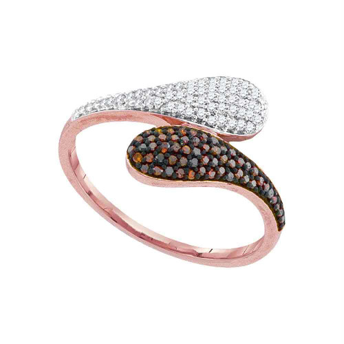 10kt Rose Gold Womens Round Red Color Enhanced Diamond Bypass Cluster Ring 1/4 Cttw