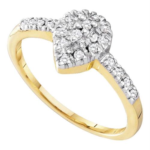 10kt Yellow Gold Womens Round Diamond Slender Teardrop Cluster Ring 1/5 Cttw