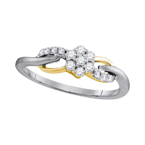 10kt White Gold Womens Round Diamond Flower Cluster Infinity Ring 1/4 Cttw