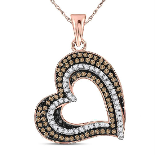 10kt Rose Gold Womens Round Brown Color Enhanced Diamond Heart Pendant 3/8 Cttw