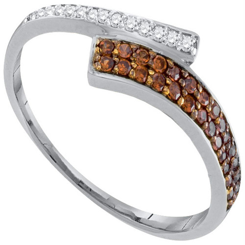 10kt White Gold Womens Round Cognac-brown Color Enhanced Diamond Bypass Band 1/4 Cttw