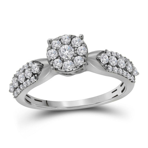 10kt White Gold Womens Round Diamond Cluster Bridal Wedding Engagement Ring 5/8 Cttw