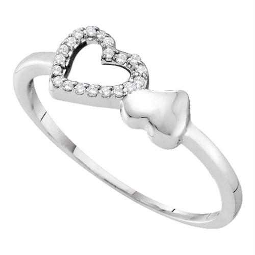 10kt White Gold Womens Round Diamond Slender Double Heart Ring 1/20 Cttw