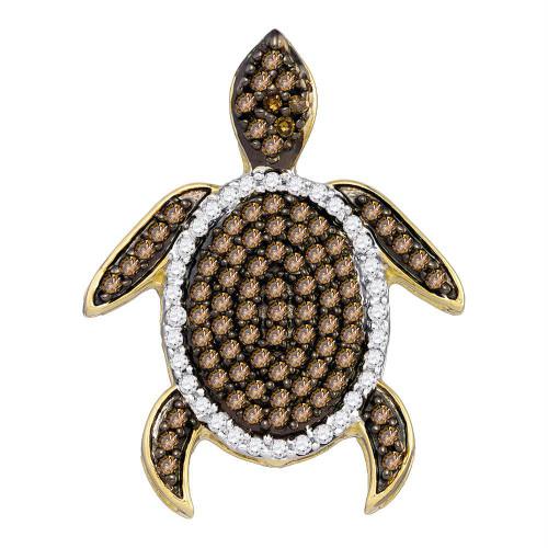 10kt White Gold Womens Round Cognac-brown Color Enhanced Diamond Sea Turtle Tortoise Pendant 1/3 Cttw