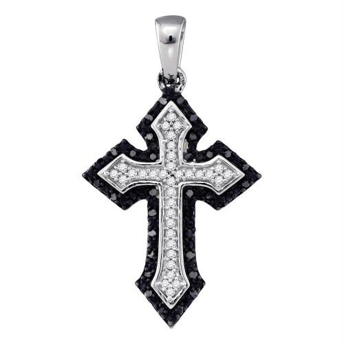 10k White Gold Black Color Enhanced Diamond Cross Crucifix Christian Womens Pendant Unique 1/5 Cttw