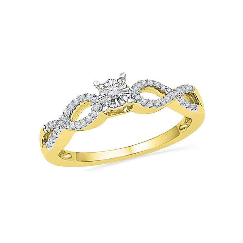 10kt Yellow Gold Womens Round Diamond Solitaire Twist Promise Bridal Ring 1/6 Cttw - 100319-8.5
