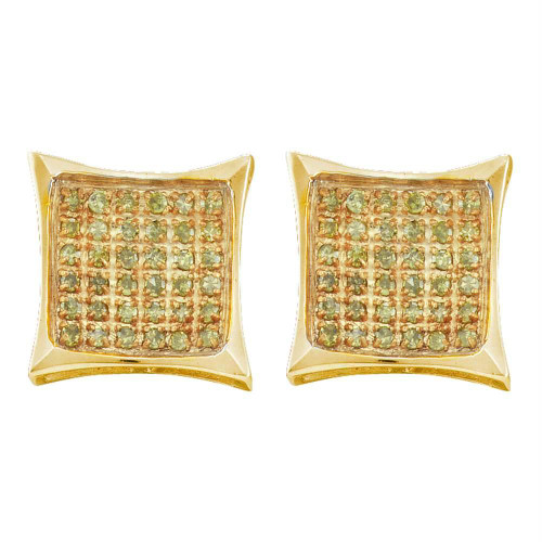 10kt Yellow Gold Mens Round Yellow Color Enhanced Diamond Cluster Square Kite Earrings 1/20 Cttw