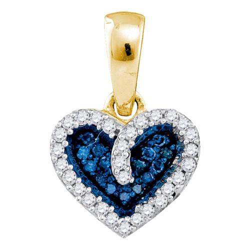10k Yellow Gold Blue Color Enhanced Round Diamond Womens Heart Love Anniversary Pendant 1/10 Cttw