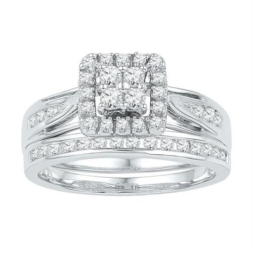 10kt White Gold Womens Round Diamond Cluster Bridal Wedding Engagement Ring Band Set 1/2 Cttw - 101569-8.5