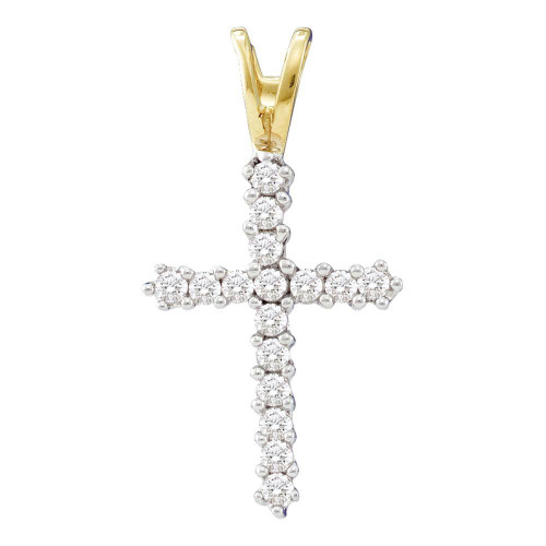 10kt Yellow Gold Womens Round Diamond Roman Cross Religious Pendant 1/4 Cttw