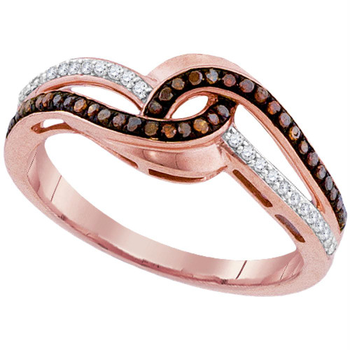 10kt Rose Gold Womens Round Red Color Enhanced Diamond Swirl Band Ring 1/5 Cttw