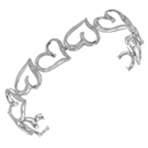 10kt White Gold Womens Round Diamond Heart Love Bangle Bracelet 1/8 Cttw