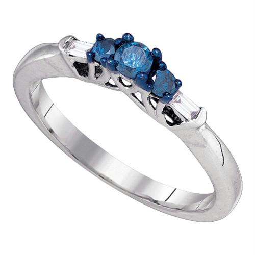 10kt White Gold Womens Round Blue Color Enhanced Diamond 3-stone Bridal Wedding Engagement Ring 1/4 Cttw
