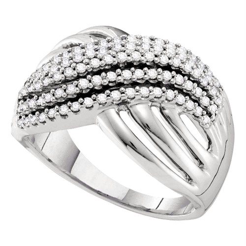 14kt White Gold Womens Round Diamond Crossover Strand Band Ring 1/2 Cttw