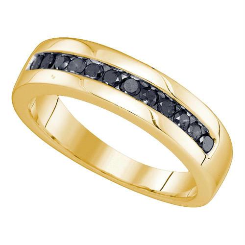 10kt Yellow Gold Mens Round Black Color Enhanced Diamond Wedding Band Ring 1/2 Cttw