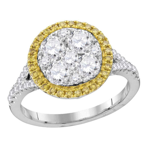 18kt White Gold Womens Round Yellow Diamond Cluster Bridal Wedding Engagement Ring 1-5/8 Cttw