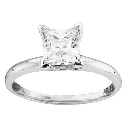 14kt White Gold Womens Princess Diamond Solitaire Bridal Wedding Engagement Ring 3/4 Cttw - 17805-6.5